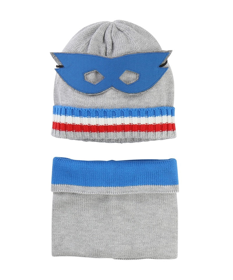 Set Of Knit Hat & Snood W/ Mask
