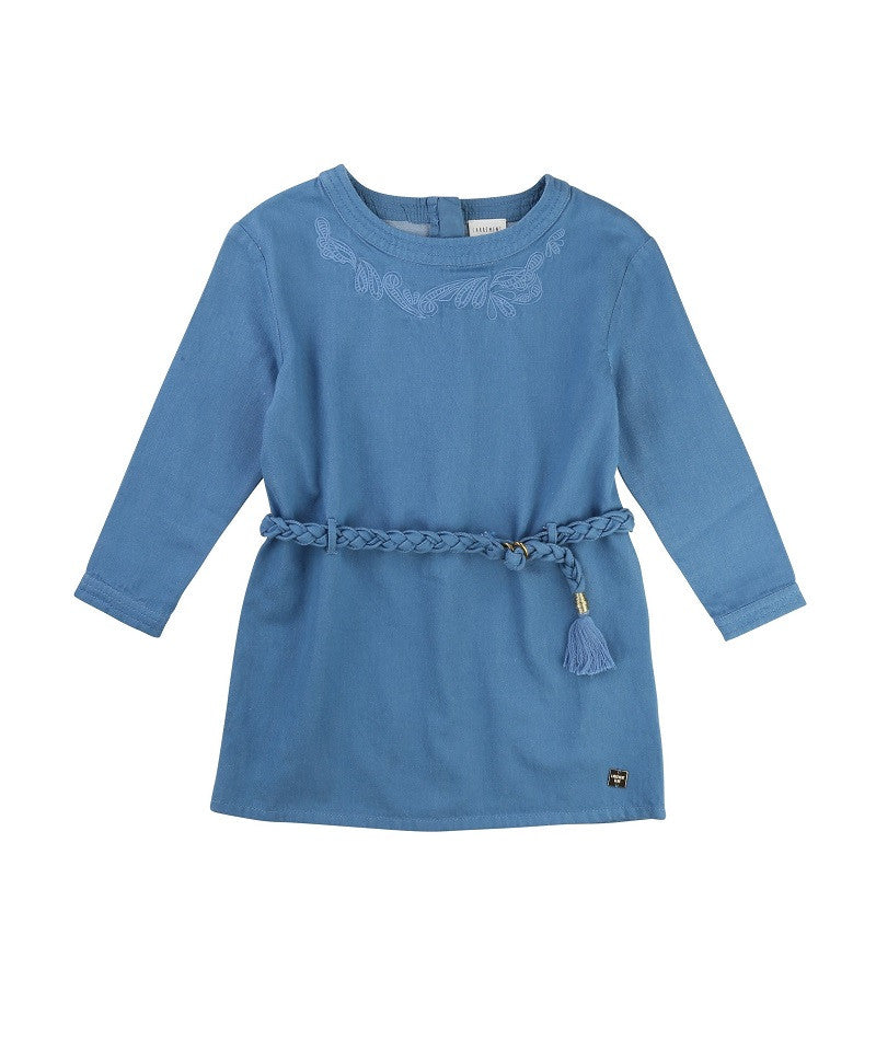 Girls LS Denim Dress w/ Braided Belt