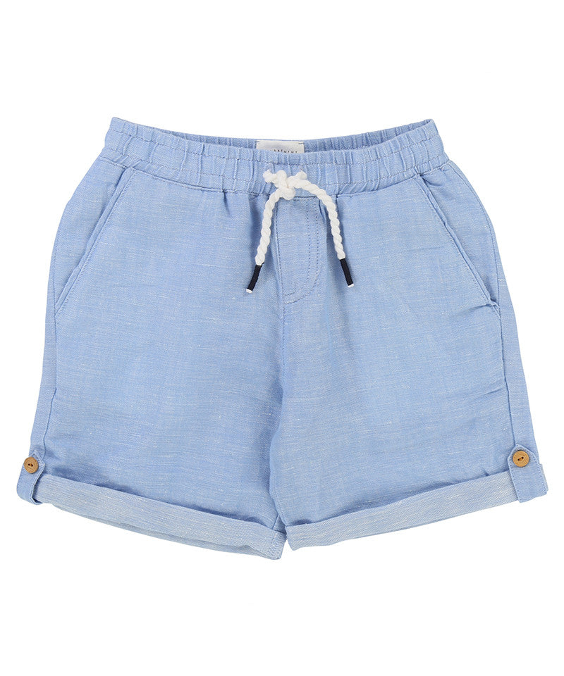 Shorts w/ Contrast Hem, Blue/White
