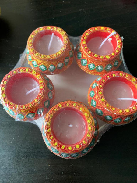 Diya with wax - 5nos Red