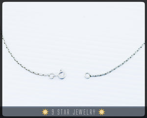"Sterling Silver 16"" Braided Chain Necklace"