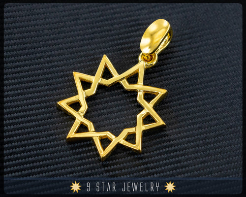 14k Solid Yellow Gold 9 Star Pendant