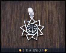 Load image into Gallery viewer, 925 Sterling Silver Baha'i 9 Star Pendant (big) - BPS17b