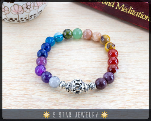 Amethyst, Tourmaline, etc. 19 Unique Gemstones - Baha'i Prayer Beads Bracelet