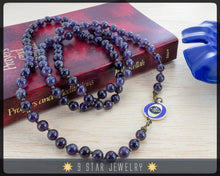 "Load image into Gallery viewer, Amethyst Baha'i Prayer Beads w/bahai ringstone symbol ""Forever Grateful"" BPB87p"