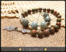 "Load image into Gallery viewer, Unakite & Moss Agate Hand Knotted Baha'i Prayer Beads ""The Ardent Love"" - BPB48"
