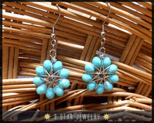 Load image into Gallery viewer, Radiant Star - Baha'i 9 Star Crystal Wire-wrapped Dangle Earrings -Arctic Blue - BRSE21