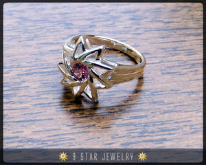 Pink Sapphire - Sterling Silver 9 Star Baha'i Ring with genuine gemstone - (Limited Edition) - BRS6PS