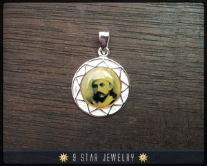 Sterling silver 'Abdu'l-Bahá 9 star pendant (Younger days) - Waterproof portrait  - ABP4