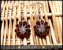 Load image into Gallery viewer, Amber Brown crystal Radiant Star - Baha'i 9 Star Wire-wrapped Dangle Earrings - BRSE20
