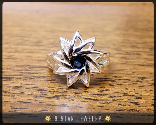 Sapphire - Sterling Silver 9 Star Baha'i Ring with genuine gemstone - (Limited Edition - Last Piece) - Size 8.5 US