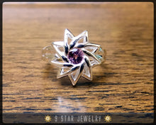 Load image into Gallery viewer, Pink Sapphire - Sterling Silver 9 Star Baha'i Ring with genuine gemstone - (Limited Edition) - BRS6PS