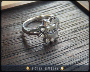 Sterling Silver Baha'i 9 Star, Ring Stone Symbol Ring - Sizes 3 to 11.5