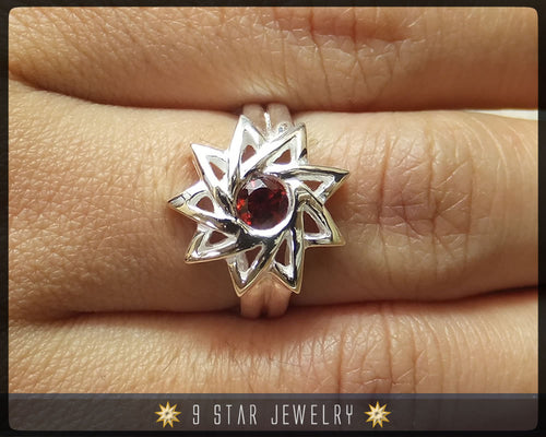 Garnet - Sterling Silver 9 Star Baha'i Ring with genuine gemstone - Size 6, 8 & 9 - (Limited Edition) - BRS6G