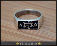 Load image into Gallery viewer, Silver Baha'i Ringstone Symbol Ring - sizes 4 to 13