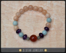 "Load image into Gallery viewer, Amethyst Amazonite Carnelian Pink Opal Baha'i Prayer Beads Bracelet ""Precious Fellowship"" - BPB27"
