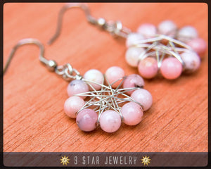 Natural Pink Opal Radiant Star Earrings - Baha'i 9 Star Wire-wrapped - BRSE25