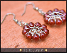 Load image into Gallery viewer, Natural Red Carnelian Radiant Star Earrings - Baha'i 9 Star Wire-wrapped - BRSE28