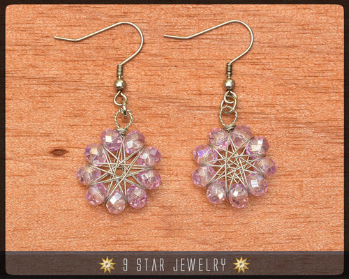 Radiant Star - Baha'i 9 Star Wire-wrapped Earrings - Lavender crystal - BRSE6