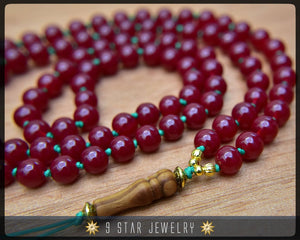 "Carnelian Red Hand Knotted Baha'i Prayer Beads - Full 95 (Alláh-u-Abhá) ""Legacy""- BPB54"
