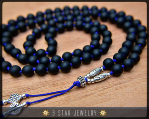 "Matte Black Hand Knotted Baha'i Prayer Beads - Full 95 (Alláh-u-Abhá) ""Zealous""- BPB55"