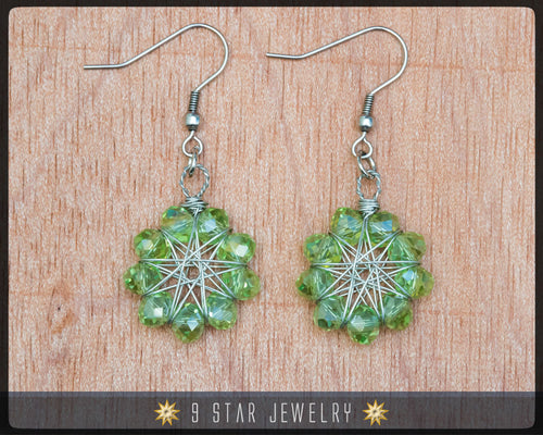 Radiant Star - Baha'i 9 Star Crystal Wire-wrapped Earrings -New Leaf crystal- BRSE13