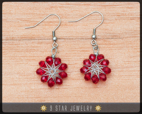 Radiant Star - Baha'i 9 Star Crystal Wire-wrapped Earrings -Ruby Red Glass Crystal- BRSE1