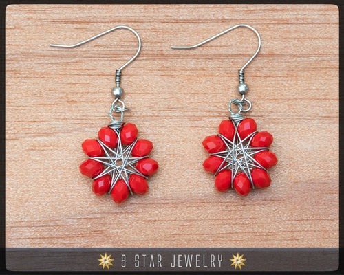 Radiant Star - Baha'i 9 Star Crystal Wire-wrapped Dangle Earrings - Candy Red - BRSE11
