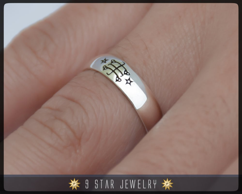 Sterling Silver Baha'i Ringstone Symbol Ring - Sizes 2.5 to 10.5