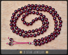 "Load image into Gallery viewer, Amber Red Hand Knotted Baha'i Prayer Beads - Full 95 (Alláh-u-Abhá) ""August"" - BPB56"
