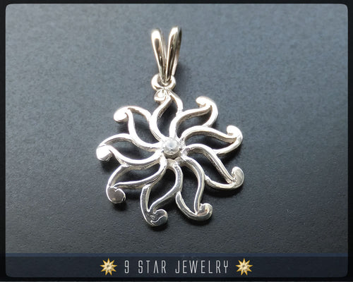 9 Star Flower Silver Baha'i Pendant with White Sapphire. bahai - BPS 24W