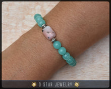 "Load image into Gallery viewer, Pink Opal & Hemimorphite Baha'i Prayer Beads Bracelet ""Avidity"" - BPB26"