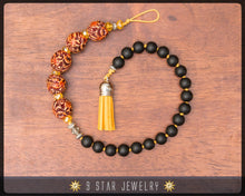 "Load image into Gallery viewer, Hand Knotted Prayer Beads 5 x 19 Matte black and Carved Dragon beads ""Divine Will""- BPB58"
