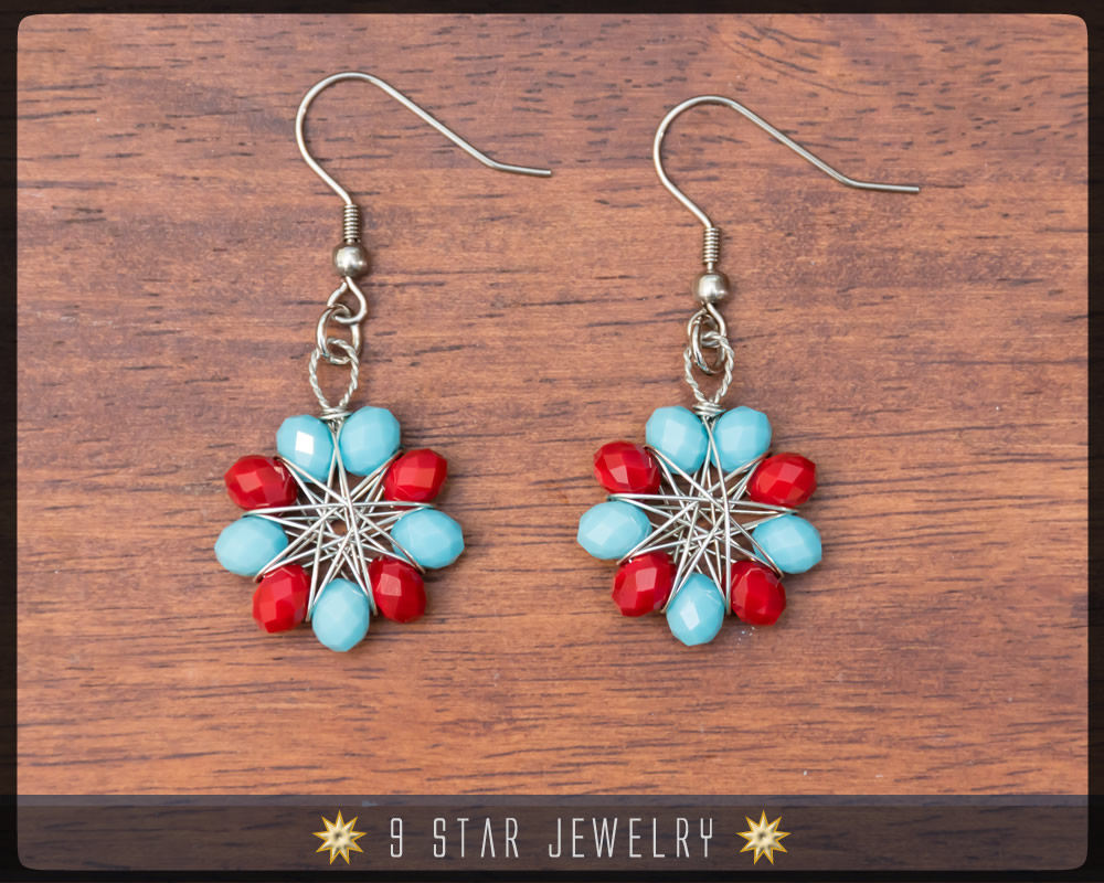Radiant Star - Baha'i 9 Star Crystal Wire-wrapped Earrings -Red Turquoise Blue Crystal- BRSE30