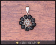 Load image into Gallery viewer, Volcanic Lava Radiant Star - Baha'i 9 Star wire-wrapped Jewelry Set - BRSE34