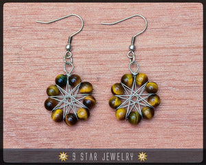 Tiger's Eye Radiant Star Earrings - Baha'i 9 Star Gemstone Crystal Wire-wrapped - BRSE30
