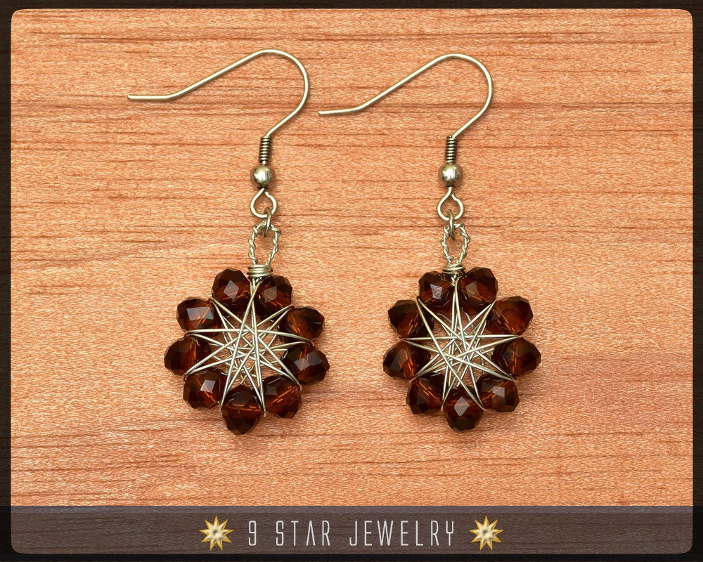 Amber Brown crystal Radiant Star - Baha'i 9 Star Wire-wrapped Dangle Earrings - BRSE20