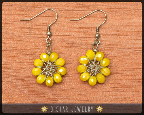 Radiant Star - Baha'i 9 Star Crystal Wire-wrapped Earrings -Golden Yellow Glass Crystal