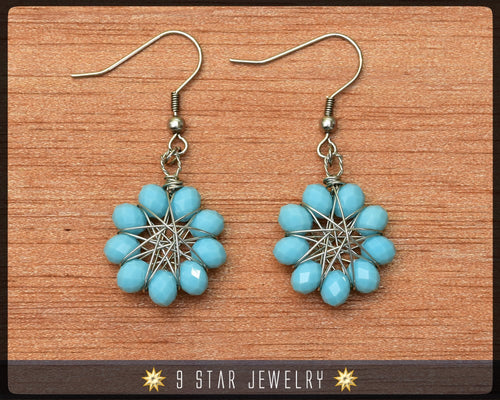 Radiant Star - Baha'i 9 Star Crystal Wire-wrapped Dangle Earrings -Arctic Blue - BRSE21