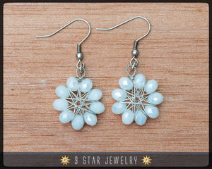 Radiant Star - Baha'i 9 Star Crystal Wire-wrapped Earrings -Pearl White Crystal- BRSE10