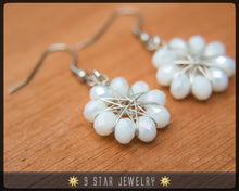 Load image into Gallery viewer, Radiant Star - Baha'i 9 Star Crystal Wire-wrapped Earrings -Pearl White Crystal- BRSE10