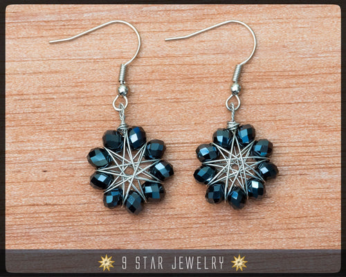 Radiant Star - Baha'i 9 Star Crystal Wire-wrapped Earrings -Metallic Black Crystal- BRSE3