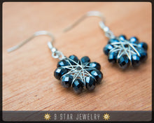 Load image into Gallery viewer, Radiant Star - Baha'i 9 Star Crystal Wire-wrapped Earrings -Metallic Black Crystal- BRSE3