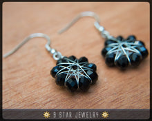 Load image into Gallery viewer, Radiant Star - Baha'i 9 Star Crystal Wire-wrapped Earrings -Obsidian Black- BRSE2