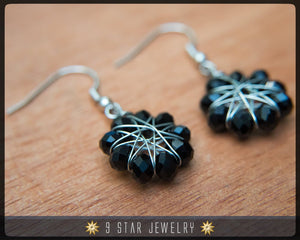Radiant Star - Baha'i 9 Star Crystal Wire-wrapped Earrings -Obsidian Black- BRSE2