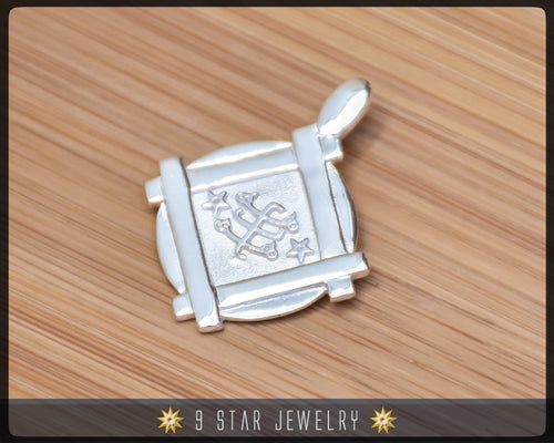 BPS9 - Sterling Silver 9 Star Bahai Pendant w/ Ring Stone Symbol