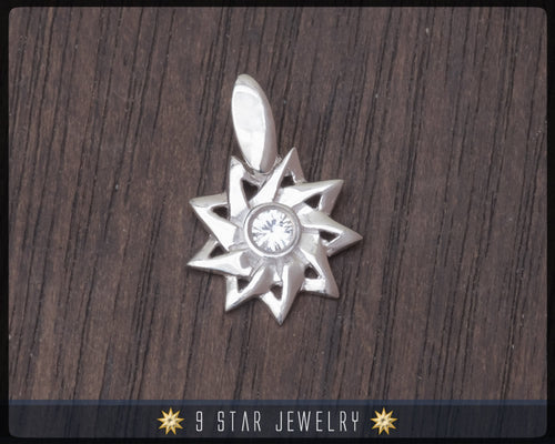 Sterling Silver 9 Star Baha'i Pendant with White Sapphire - BPS19