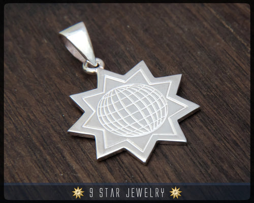 BPS5 - 925 Sterling Silver 9 Star Baha'i Pendant (Baha'i World Congress, New York 1992)