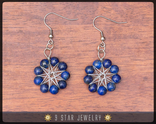 Lapis Lazuli Radiant Star Earrings - Baha'i 9 Pointed Star Wire-wrapped Dangle Earrings - BRSE32