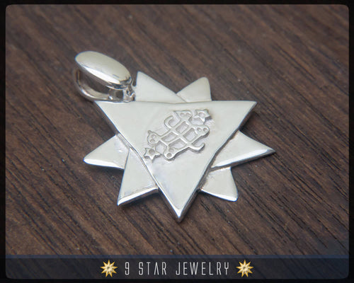 BPS22 - 925 Sterling Silver 9 Star Baha'i Pendant /w Ring Stone Symbol